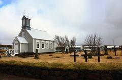 lutheran church in reykjavik island - stock photo