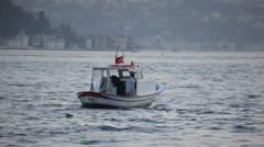 A fishing boat at the bosphorus, istanbul Stock Footage