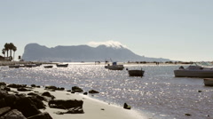Seaside and Rock of Gibraltar Stock Footage
