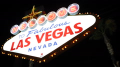 Establishing Shot Famous Las Vegas Welcome Neon Sign Landmark Lights Sightseeing Stock Footage