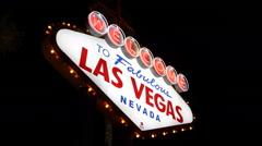Las Vegas Welcome Fabulous Nevada Neon Sign Evening Night Lights Gamblers City Arkistovideo