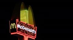 McDonald's Restaurant Neon Electronic Sign Fast Food Chain Logo Night Light Icon - stock footage