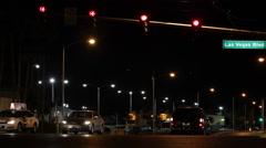Establishing Shot Las Vegas Strip Boulevard Location Night Lights Cars Traffic Stock Footage