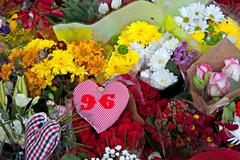 Flowers laid to commemorate the 25th anniversa Stock Photos