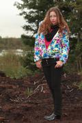 Trendy young woman standing outdoors Stock Photos