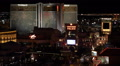 Aerial View Mirage Hotel Las Vegas Skyline Night Lights Cars Traffic Busy Street Footage