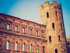 Retro look Porte Palatine, Turin Stock Photos