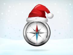 compass navigation covered with santa cap vector illustration - stock illustration