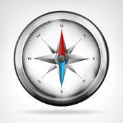 isolated metallic compass object vector illustration - stock illustration