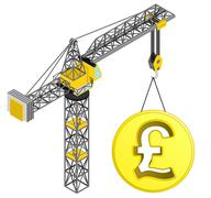 golden pound coin hanged on isolated crane drawing vector illustration - stock illustration