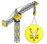 golden yuan coin hanged on isolated crane drawing vector illustration - stock illustration