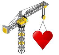 red heart icon hanged on isolated crane drawing vector illustration - stock illustration