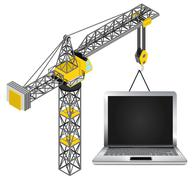 new laptop hanged on isolated crane drawing vector illustration - stock illustration