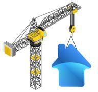 blue house icon hanged on isolated crane drawing - stock illustration