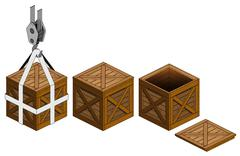 Open wooden crate and close one on hook vector illustration Stock Illustration