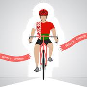 byelorussian cyclist in front view crossing red finish line vector - stock illustration
