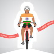 indian cyclist in front view crossing red finish line vector - stock illustration