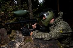 Paintball sniper ready for shooting - stock photo