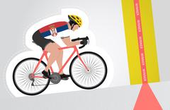 Stock Illustration of serbian cyclist riding upwards to finish line vector isolated illustration