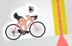 white dressed cyclist riding upwards to finish line vector - stock illustration
