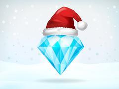 xmas jewel covered with santa cap vector illustration - stock illustration