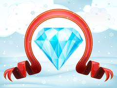 Diamond wealth with xmas bow at winter scenery vector illustration Stock Illustration