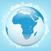asia globe view in winter season vector illustration - stock illustration