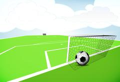 Football playground scene with goal score with cloudy sky vector Stock Illustration