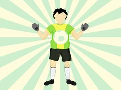 brazil dress goalie catch on striped background vector illustration - stock illustration
