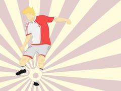 Red dress footballer shooting on striped background vector illustration Stock Illustration