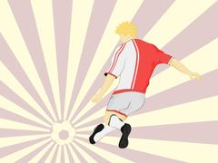 red dress football player shooting on striped background vector illustration - stock illustration