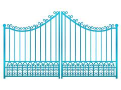 Stock Illustration of isolated closed blue iron gate fence vector illustration