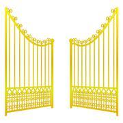 Stock Illustration of isolated on white open golden gate fence vector illustration