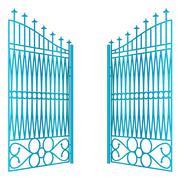 isolated open blue iron gate fence vector illustration - stock illustration