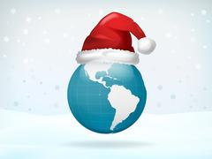 Stock Illustration of america globe view covered with santa cap vector illustration