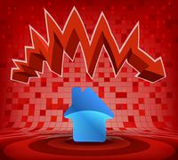 house icon under red descending zig zag arrow vector illustration - stock illustration