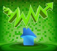 house icon under green rising zig zag arrow vector illustration - stock illustration