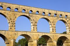 pont du gard, roman aqueduct in southern france near nimes - stock photo