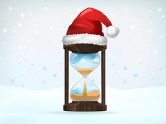 xmas countdown covered with santa cap vector illustration - stock illustration