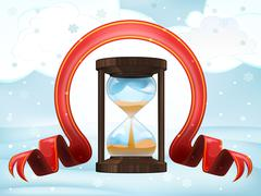Stock Illustration of hourglass countdown with xmas bow at winter scenery vector illustration