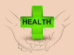 gree health icon hold two human hands across vector illustration - stock illustration
