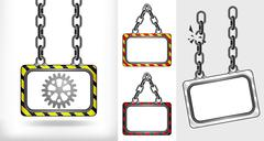 industrial cogwheel on chain hanged board collection - stock illustration