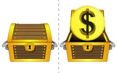 Golden dollar coin in open wooden chest and closed one isolated Stock Illustration