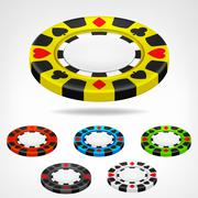 poker chip isometric color set 3d object - stock illustration