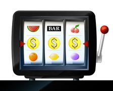 Stock Illustration of three dollar coin items on play machine as winning vector illustration