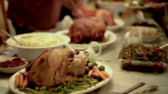 Thanksgiving Table Carving Turkey Ham Mashed Potatoes Side Dishes - stock footage