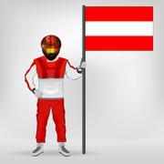 Stock Illustration of standing racer holding austrian flag vector illustration