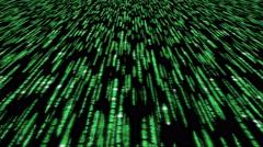 Matrix code 3d - 4k 30fps clear slow loop, green on black Stock Footage