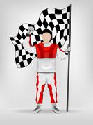 Stock Illustration of racer in red overall holding checked flag with hand up