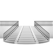 Circular staircase with handrail on white background Stock Illustration